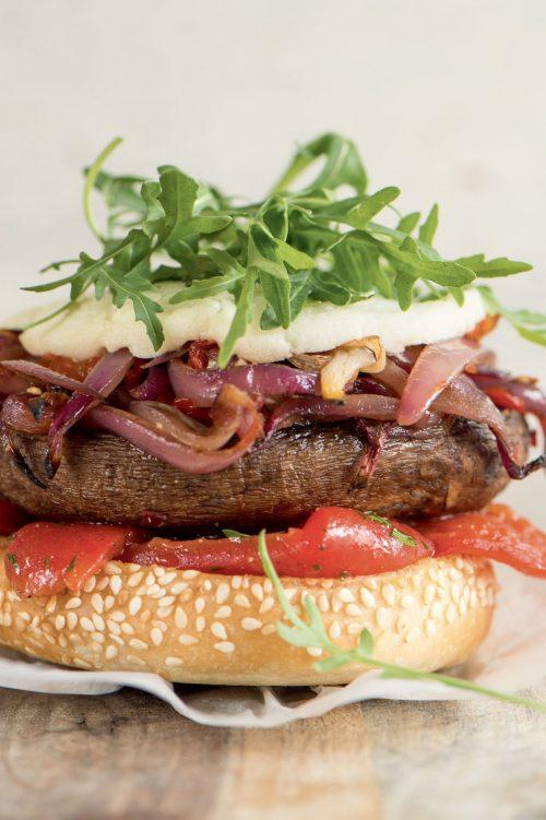 Burger aux portobellos et fromage de chèvre