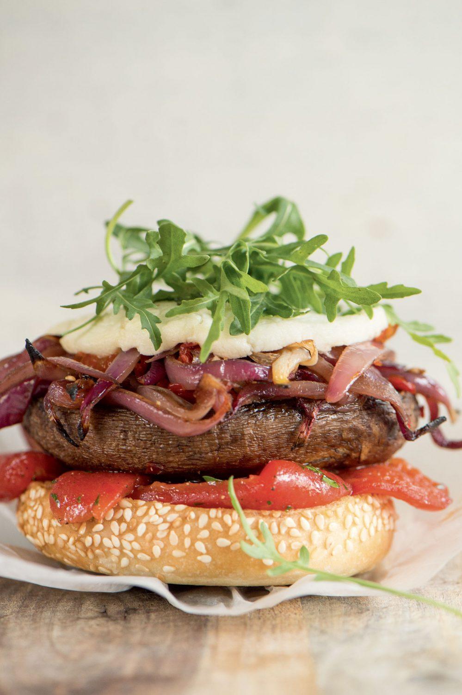 Burger végétarien aux portobellos et fromage de chèvre