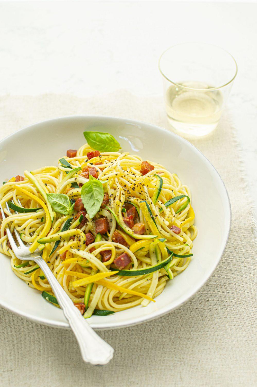 Spaghetti carbonara aux zucchinis