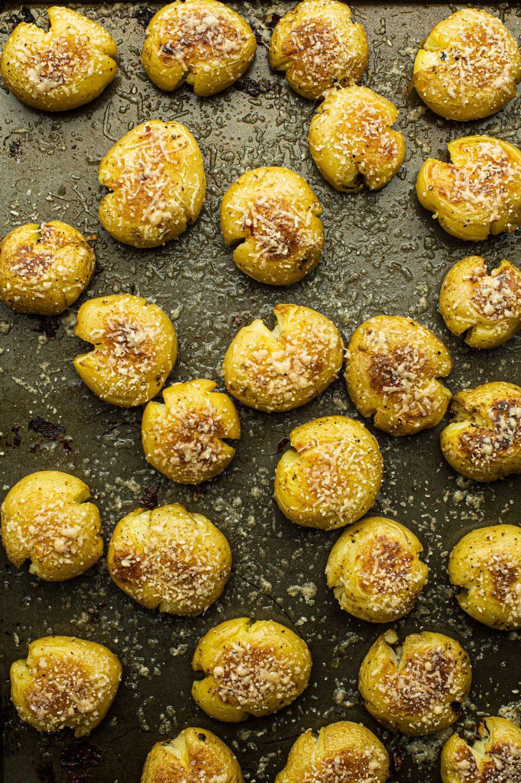 Galettes de pommes de terre rattes écrasées