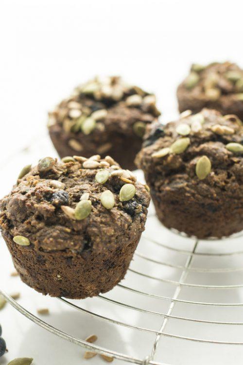 Muffins santé aux bananes et bleuets
