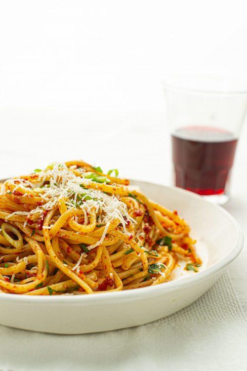 Spaghettini à l'huile tomatée