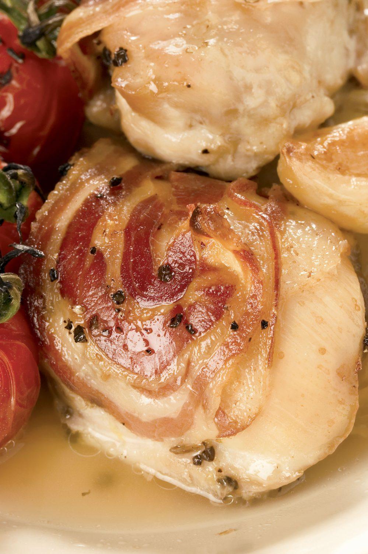 Casserole de poulet à la pancetta