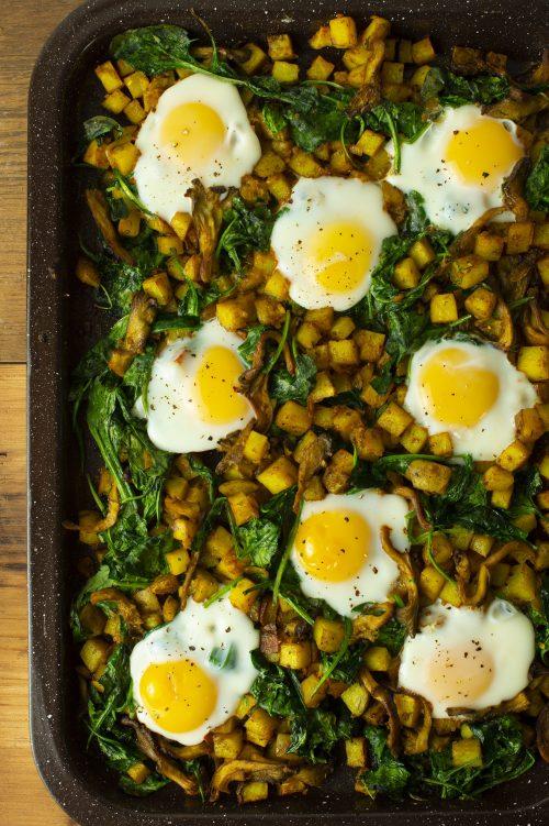 Plaque déjeuner de pommes de terre, de pleurotes et d'épinards