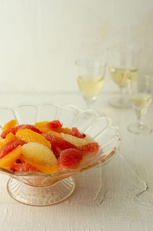 Salade de fruits, sirop au gingembre ou épicé