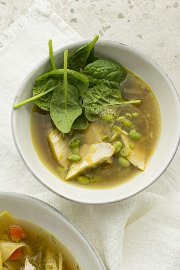 Soupe poulet, quinoa et gingembre