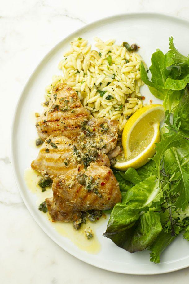 Hauts de cuisses de poulet grillés, vinaigrette à l'italienne