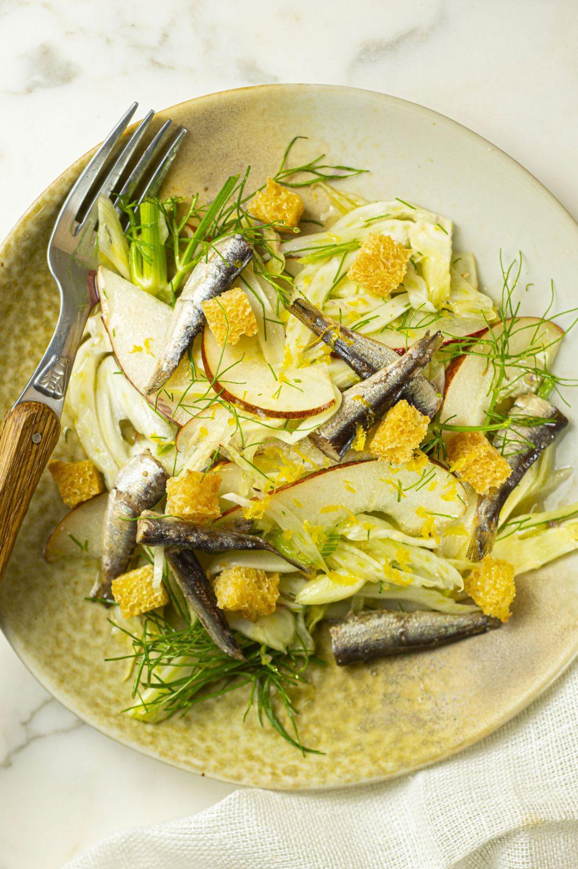 Salade de fenouil, poires et sardines