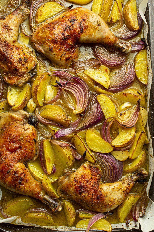 Cuisses de poulet rôties au citron et origan