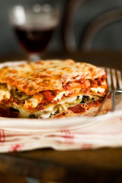 Lasagne aux champignons et aux épinards