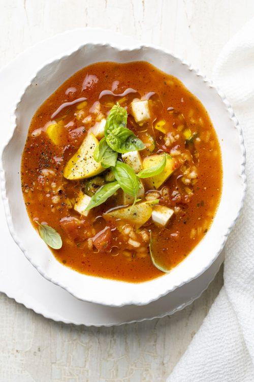 Soupe aux tomates et au riz